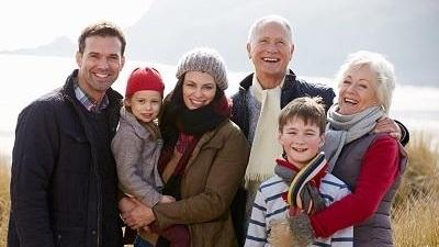 Multigenerational family smiling